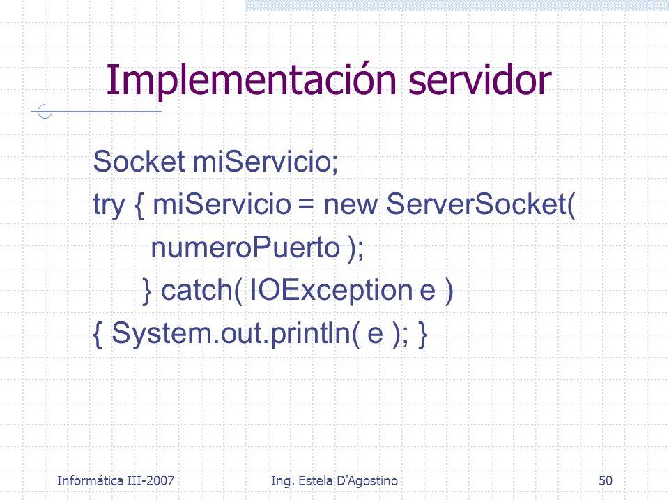 Implementación servidor