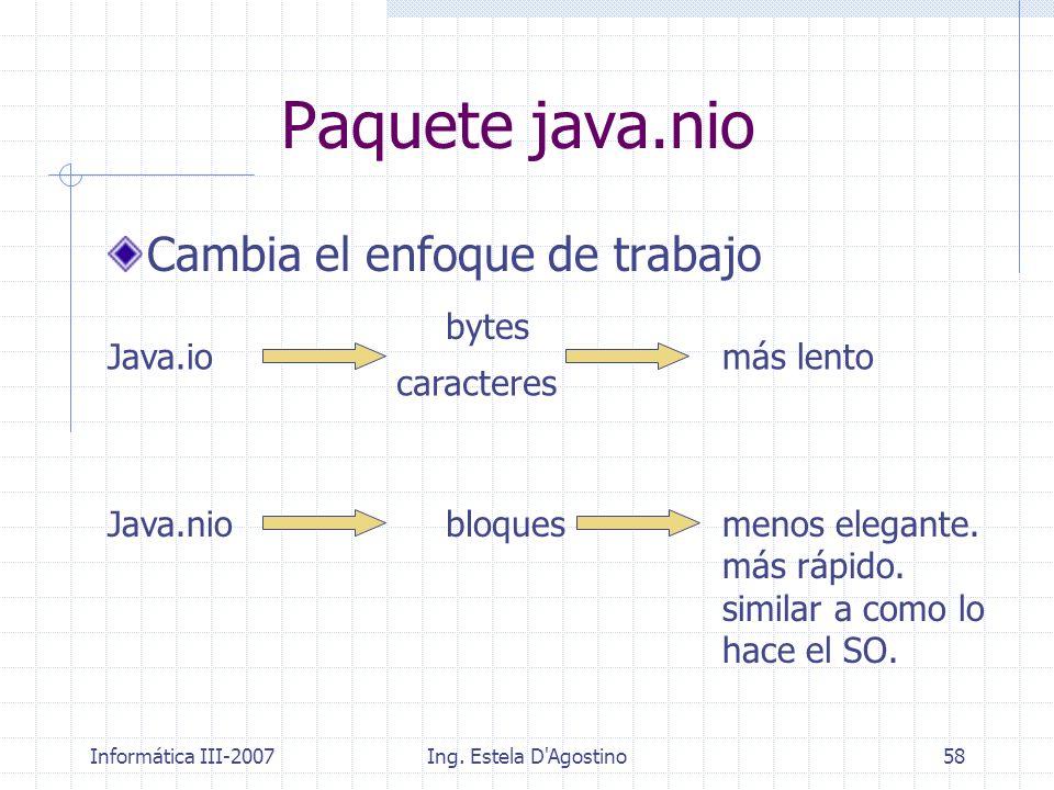Paquete java.nio Cambia el enfoque de trabajo bytes Java.io más lento