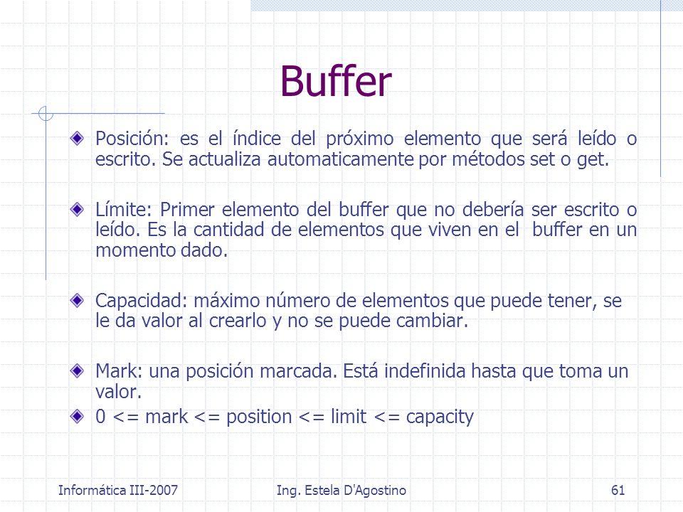 Buffer Posición: es el índice del próximo elemento que será leído o escrito. Se actualiza automaticamente por métodos set o get.