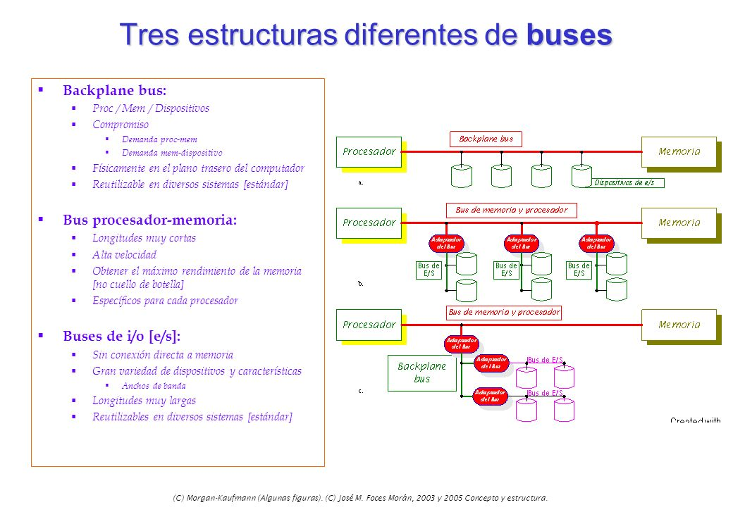 Tres estructuras diferentes de buses