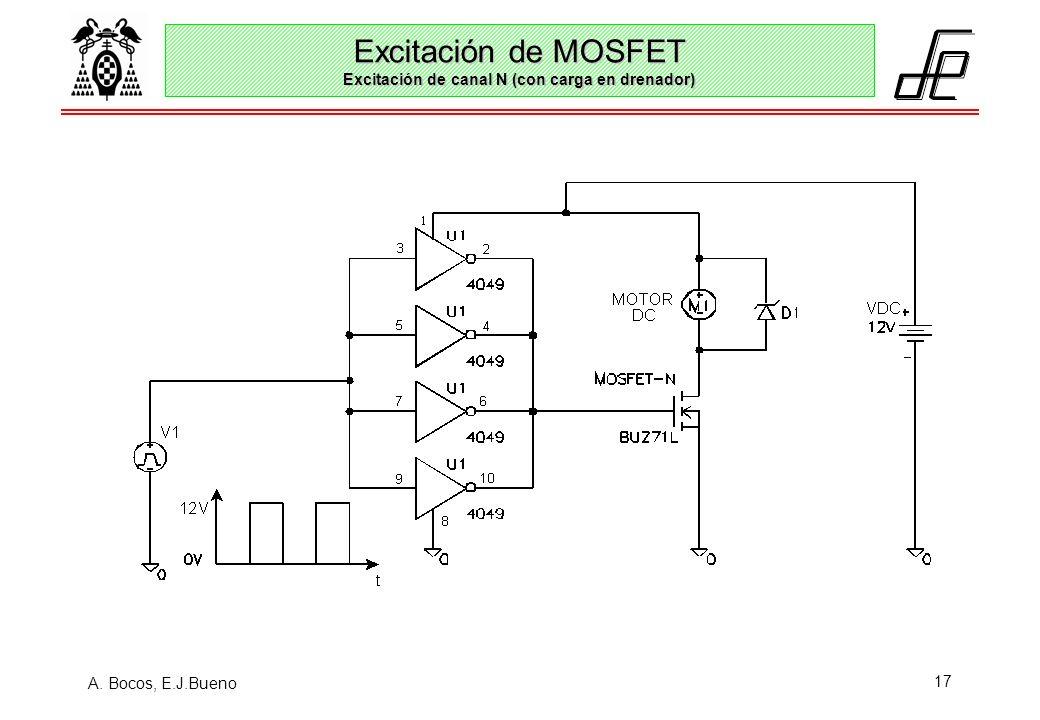 Excitación de MOSFET Excitación de canal N (con carga en drenador)