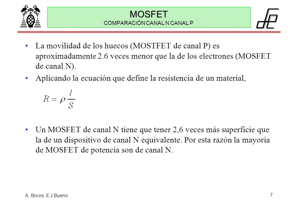 MOSFET COMPARACIÓN CANAL N CANAL P
