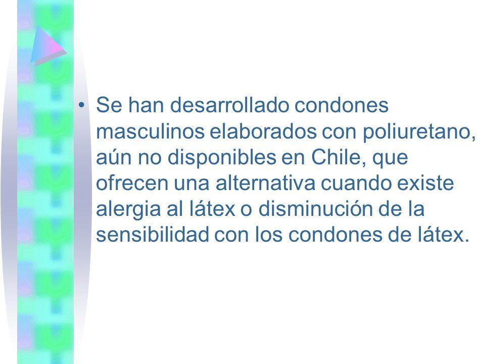 Se han desarrollado condones masculinos elaborados con poliuretano, aún no disponibles en Chile, que ofrecen una alternativa cuando existe alergia al látex o disminución de la sensibilidad con los condones de látex.