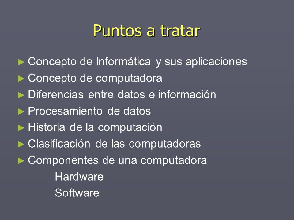 Puntos a tratar Concepto de Informática y sus aplicaciones