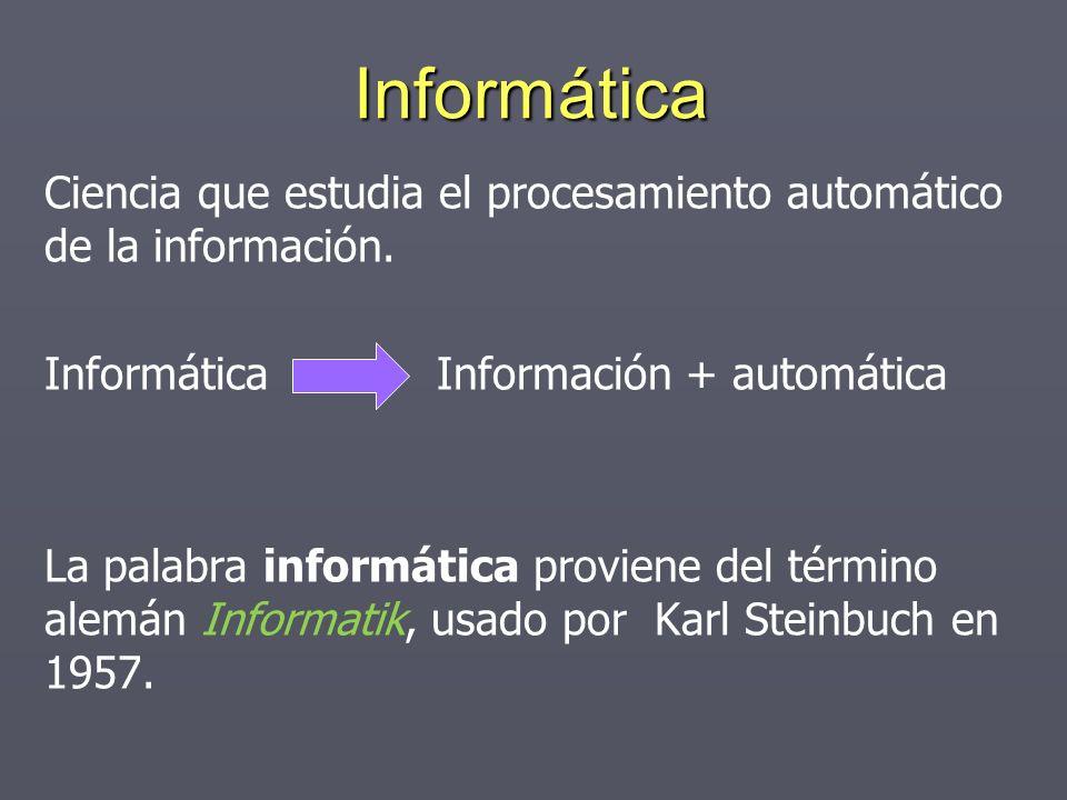 Informática Ciencia que estudia el procesamiento automático de la información. Informática Información + automática.