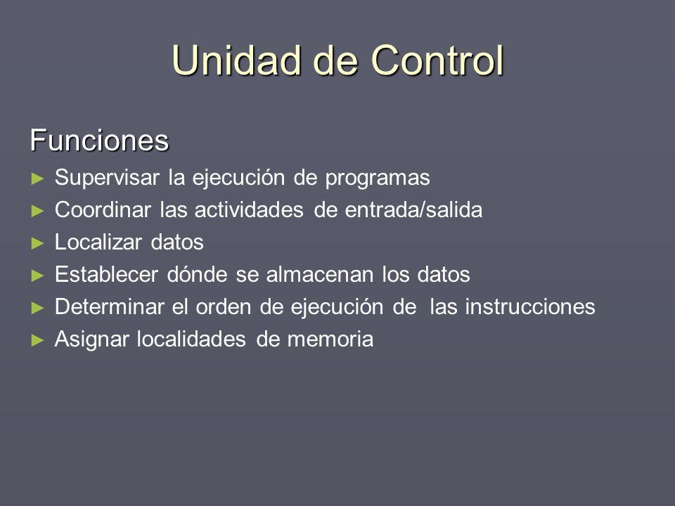 Unidad de Control Funciones Supervisar la ejecución de programas