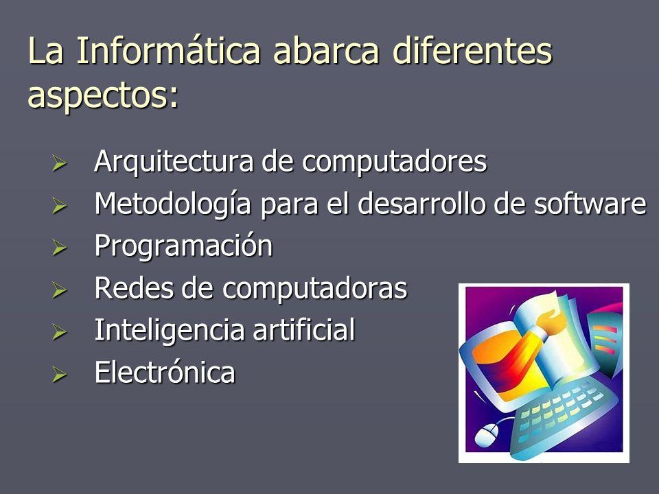 La Informática abarca diferentes aspectos: