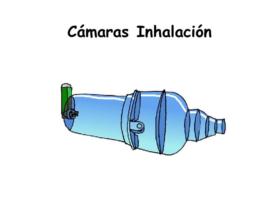 Cámaras Inhalación -Propiedades: Enlentecen el flujo, Evaporación del propelente, Disminución MMAD,, Aumentan la distancia boca-cartucho.