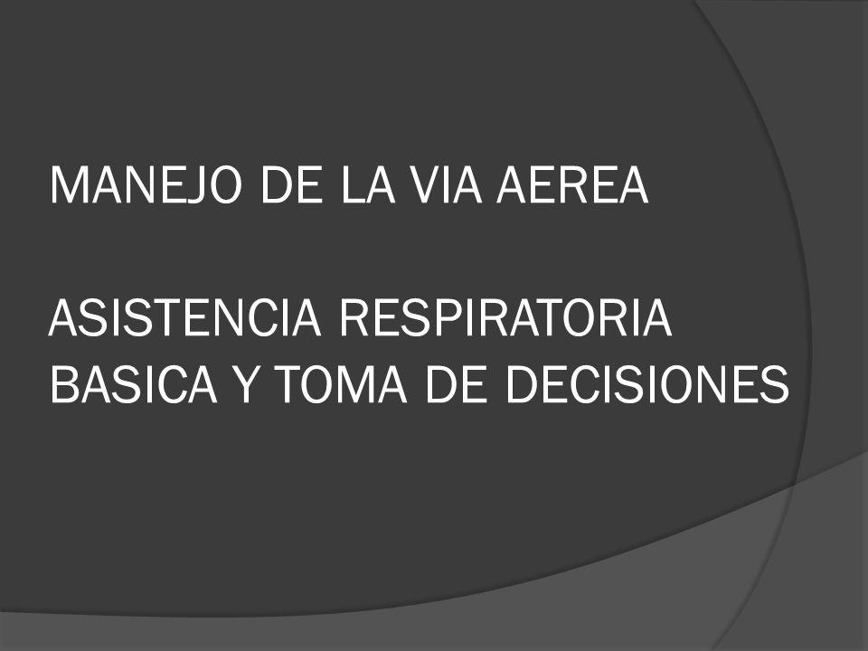 MANEJO DE LA VIA AEREA ASISTENCIA RESPIRATORIA BASICA Y TOMA DE DECISIONES