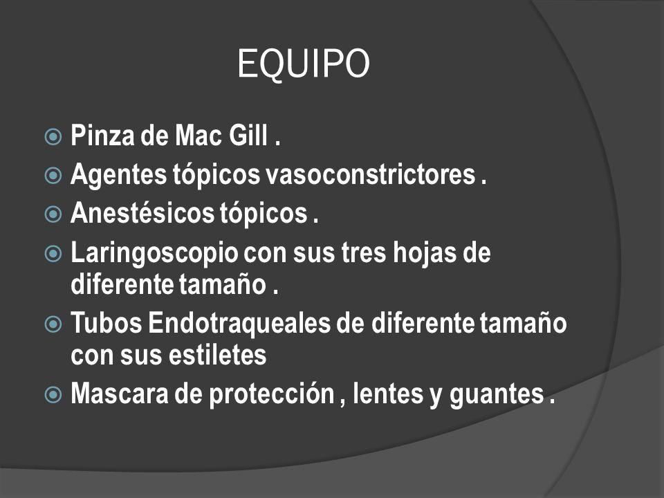EQUIPO Pinza de Mac Gill . Agentes tópicos vasoconstrictores .