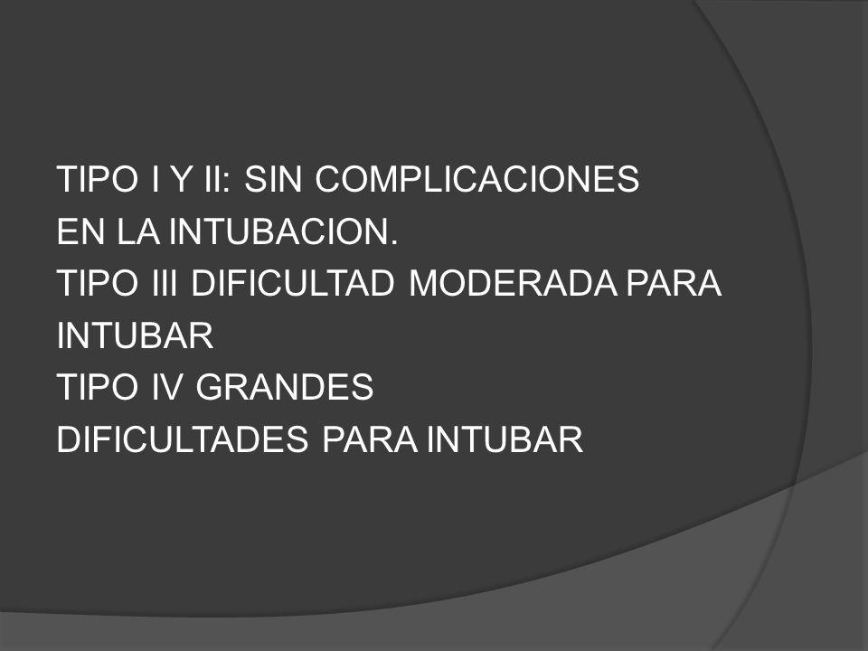 TIPO I Y II: SIN COMPLICACIONES EN LA INTUBACION