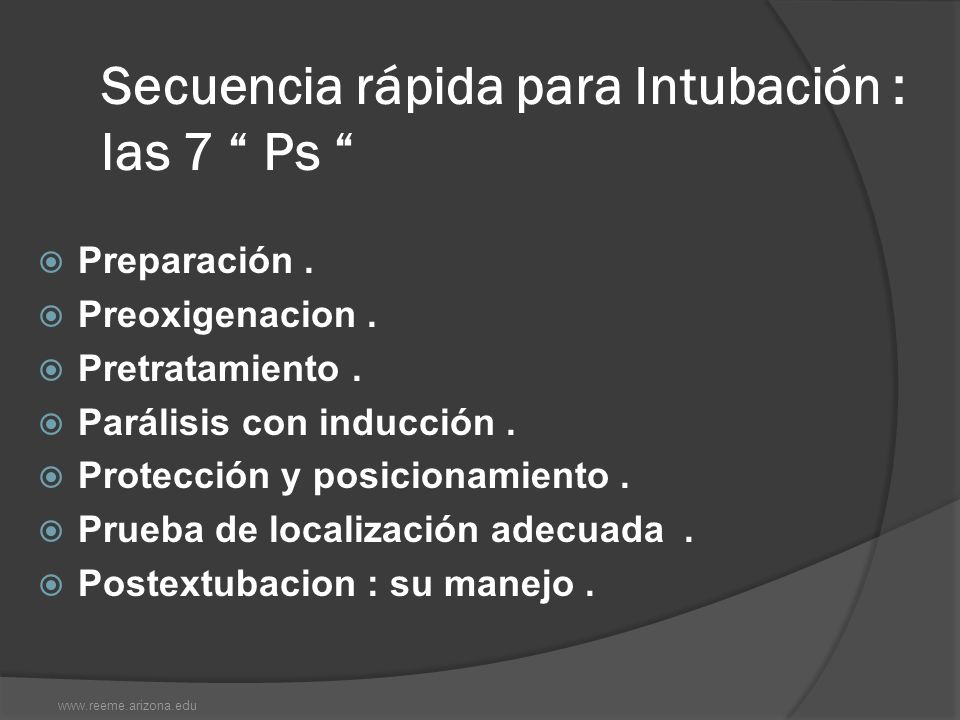 Secuencia rápida para Intubación : las 7 Ps
