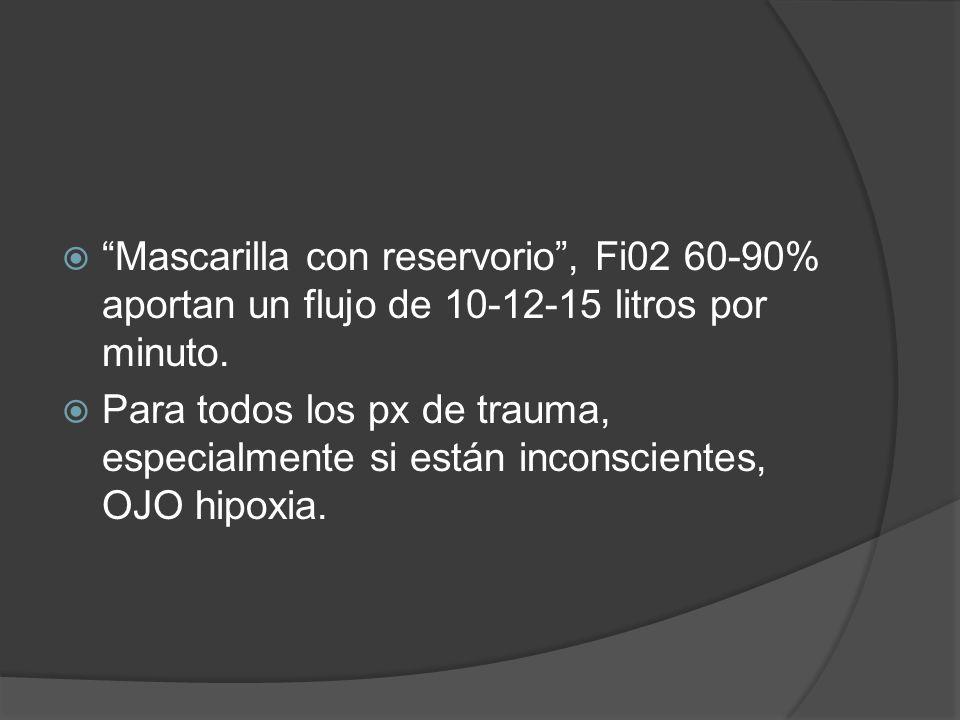 Mascarilla con reservorio , Fi02 60-90% aportan un flujo de 10-12-15 litros por minuto.