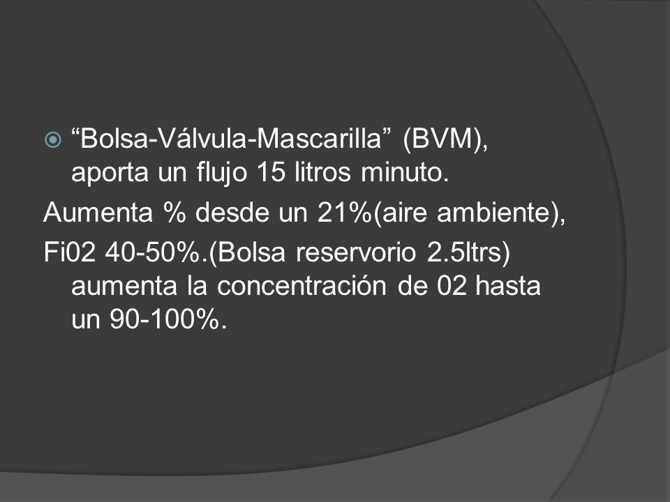 Bolsa-Válvula-Mascarilla (BVM), aporta un flujo 15 litros minuto.