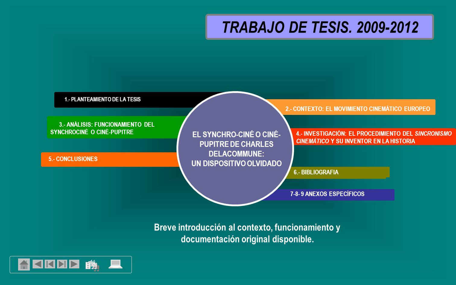 TRABAJO DE TESIS. 2009-2012 1.- PLANTEAMIENTO DE LA TESIS. 2.- CONTEXTO: EL MOVIMIENTO CINEMÁTICO EUROPEO.