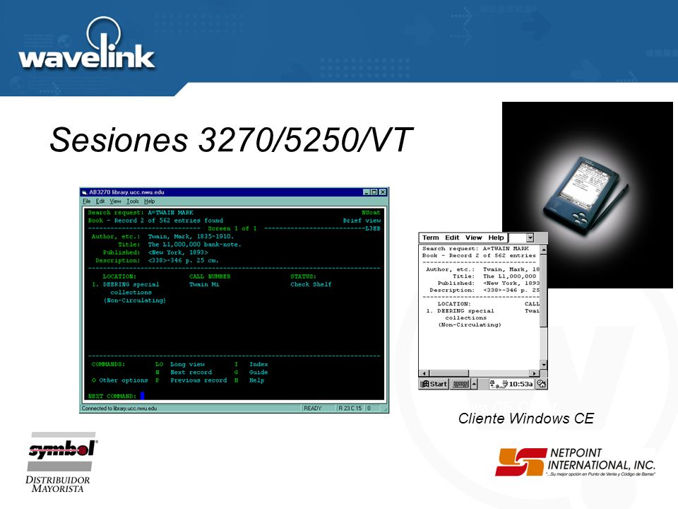 Sesiones 3270/5250/VT Windows CE Client Cliente Windows CE