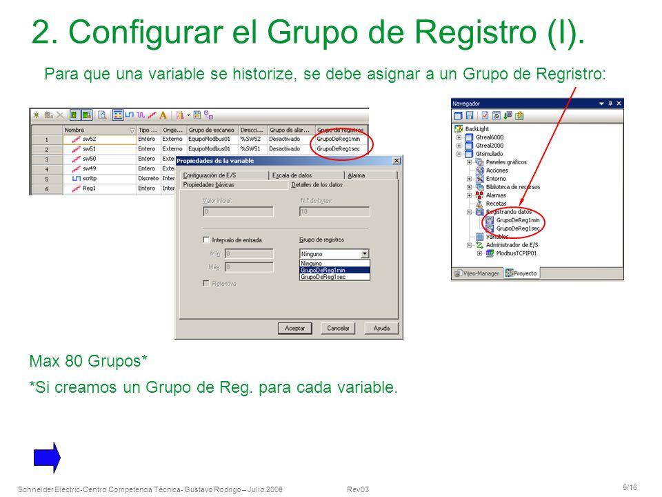 2. Configurar el Grupo de Registro (I).