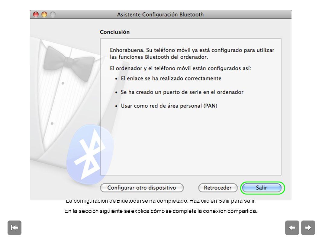 La configuración de Bluetooth se ha completado