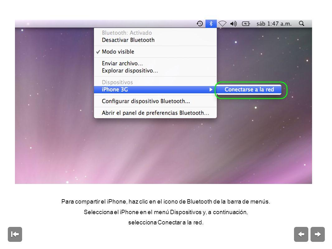 Para compartir el iPhone, haz clic en el icono de Bluetooth de la barra de menús.