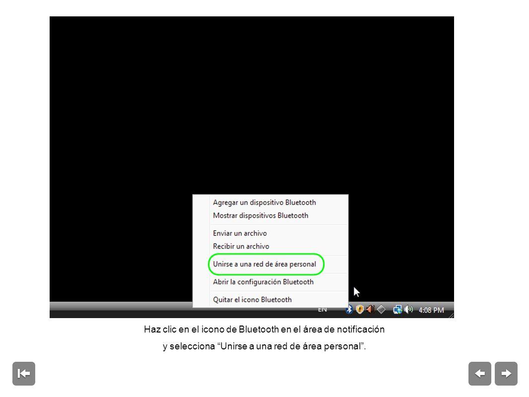 Haz clic en el icono de Bluetooth en el área de notificación