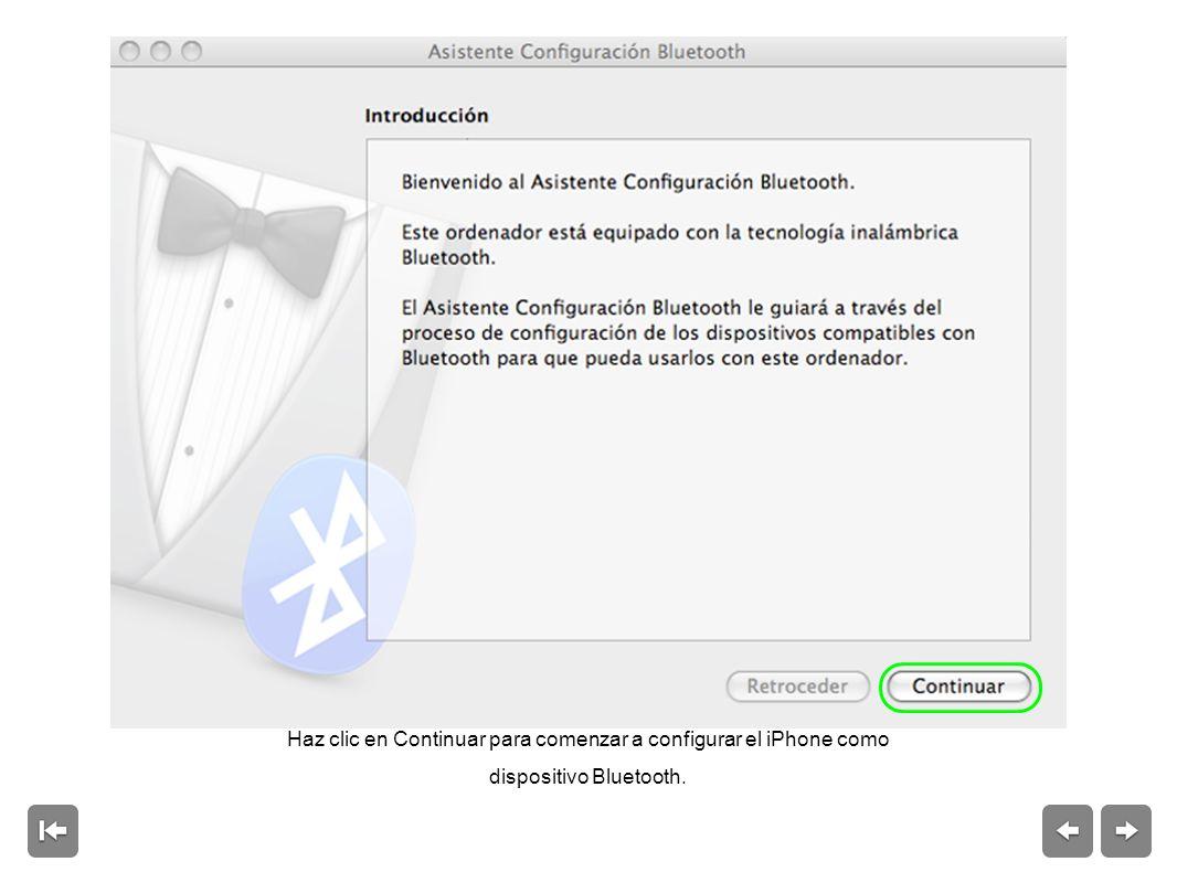 Haz clic en Continuar para comenzar a configurar el iPhone como dispositivo Bluetooth.