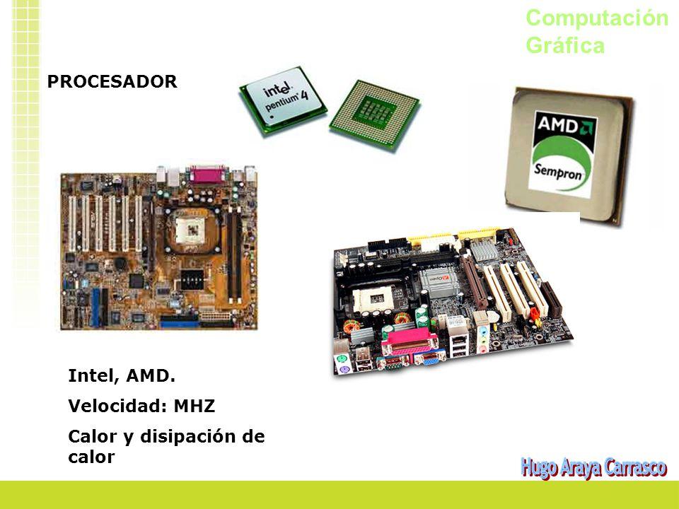 Computación Gráfica PROCESADOR Intel, AMD. Velocidad: MHZ