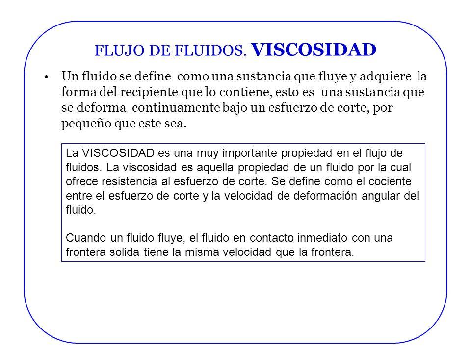 FLUJO DE FLUIDOS. VISCOSIDAD