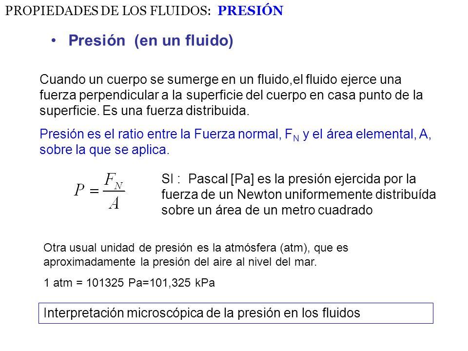 Presión (en un fluido) PROPIEDADES DE LOS FLUIDOS: PRESIÓN