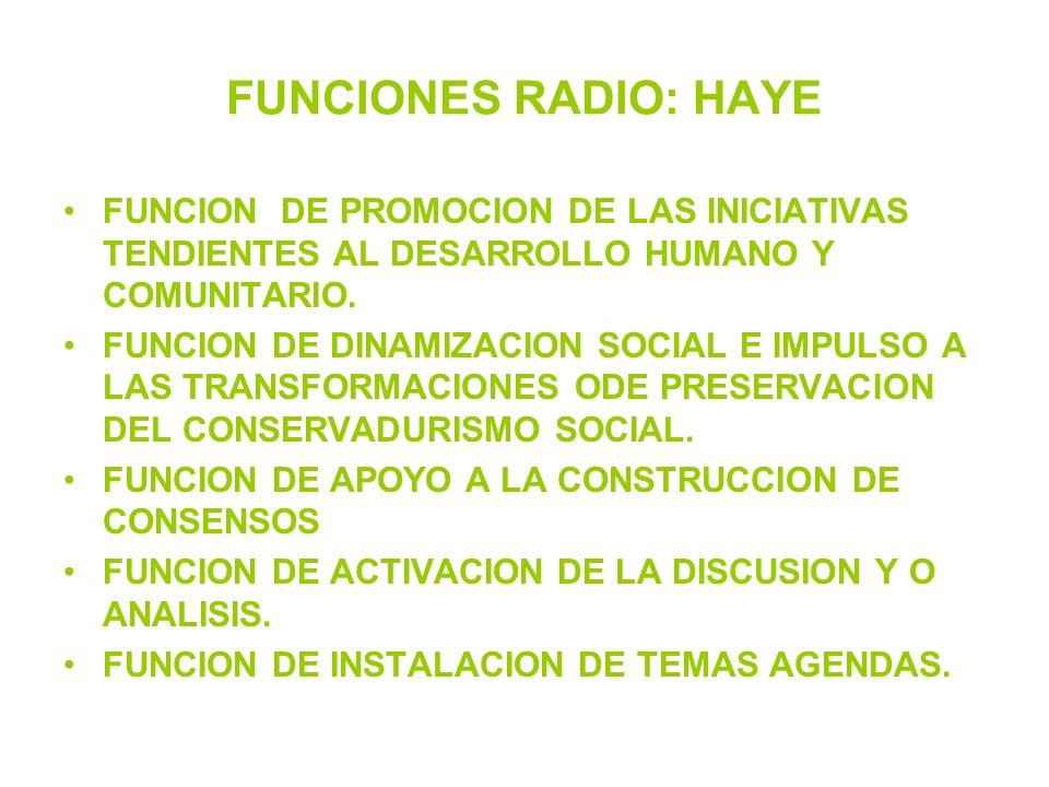 FUNCIONES RADIO: HAYE FUNCION DE PROMOCION DE LAS INICIATIVAS TENDIENTES AL DESARROLLO HUMANO Y COMUNITARIO.
