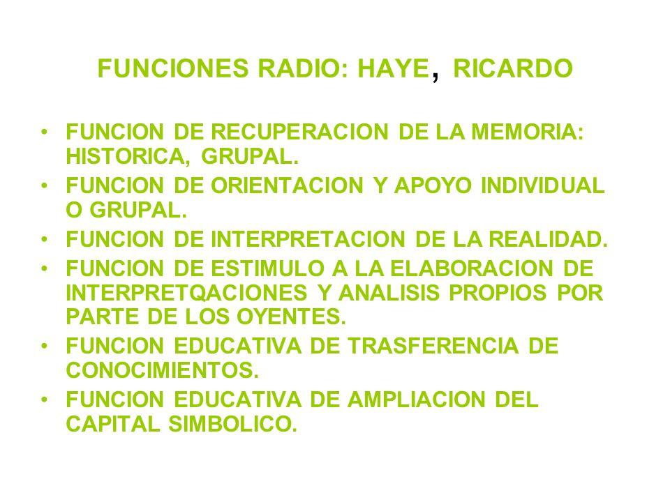 FUNCIONES RADIO: HAYE, RICARDO