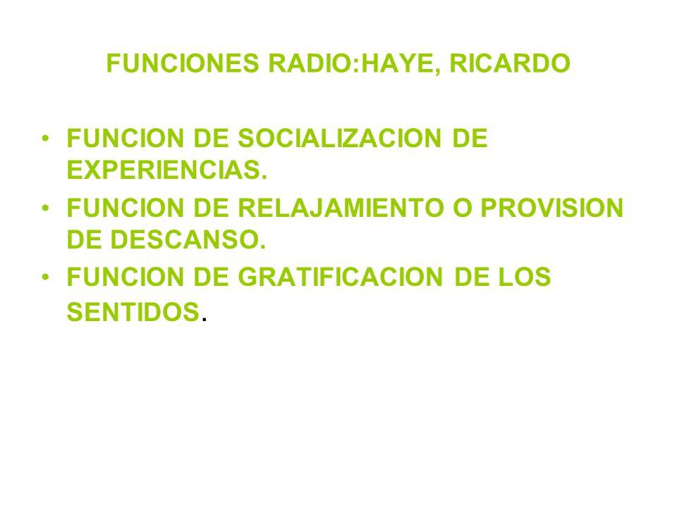 FUNCIONES RADIO:HAYE, RICARDO