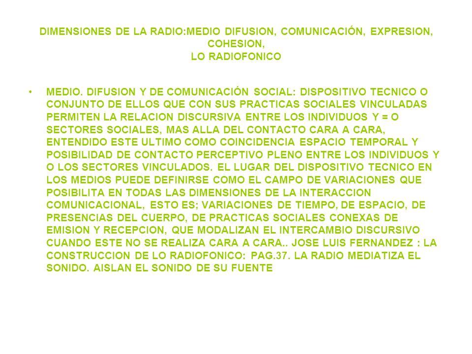 DIMENSIONES DE LA RADIO:MEDIO DIFUSION, COMUNICACIÓN, EXPRESION, COHESION, LO RADIOFONICO