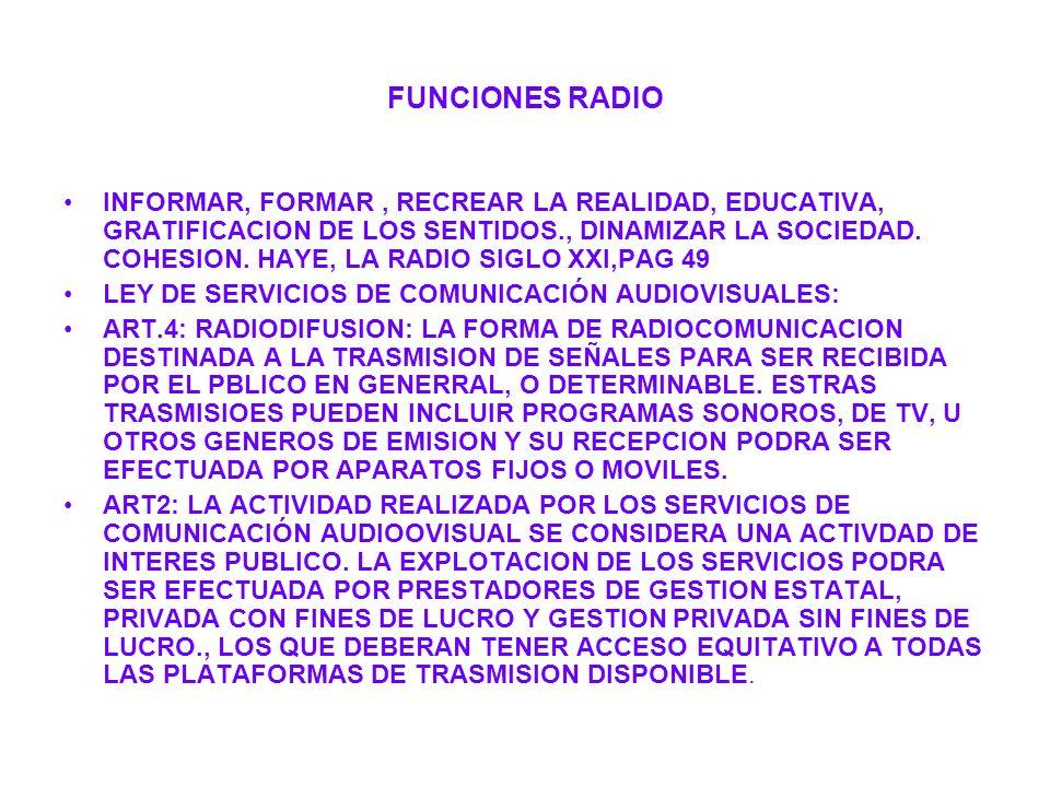 FUNCIONES RADIO