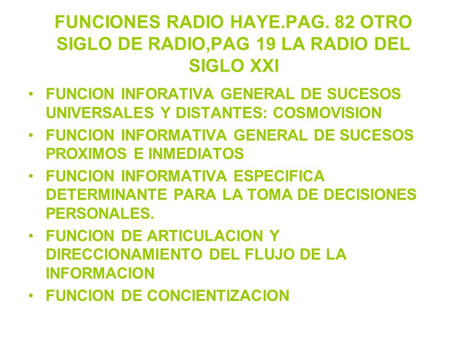 FUNCIONES RADIO HAYE. PAG