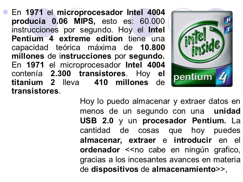 En 1971 el microprocesador Intel 4004 producía 0. 06 MIPS, esto es: 60