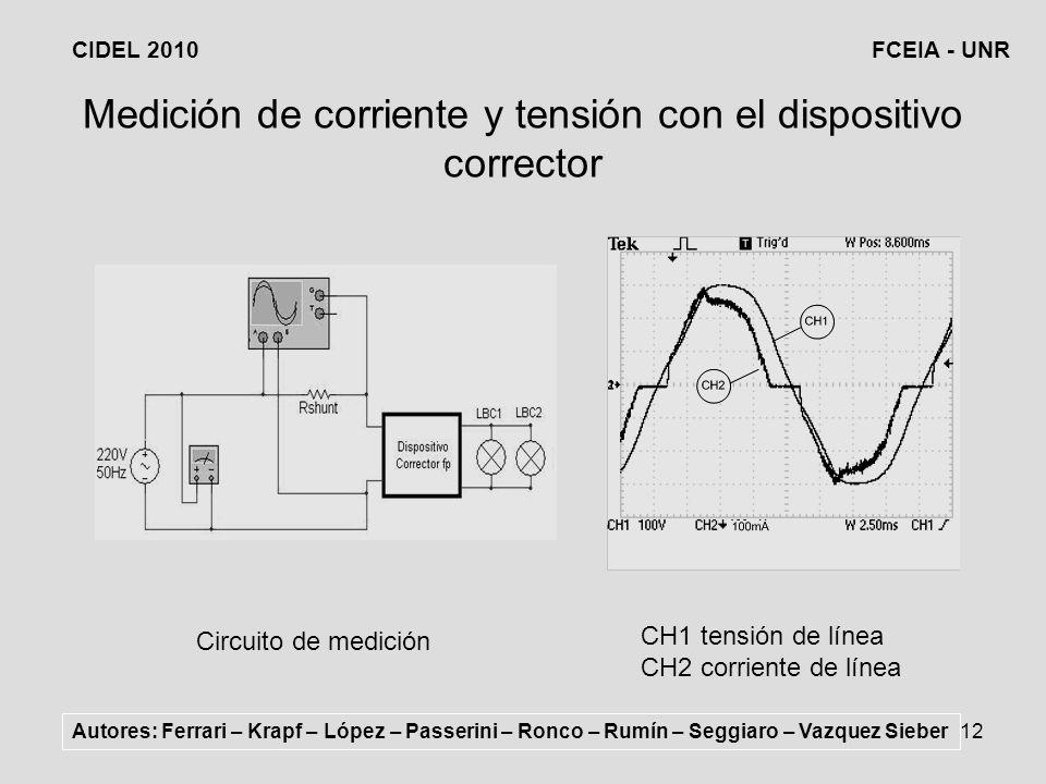 Medición de corriente y tensión con el dispositivo corrector
