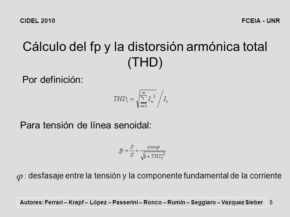 Cálculo del fp y la distorsión armónica total (THD)