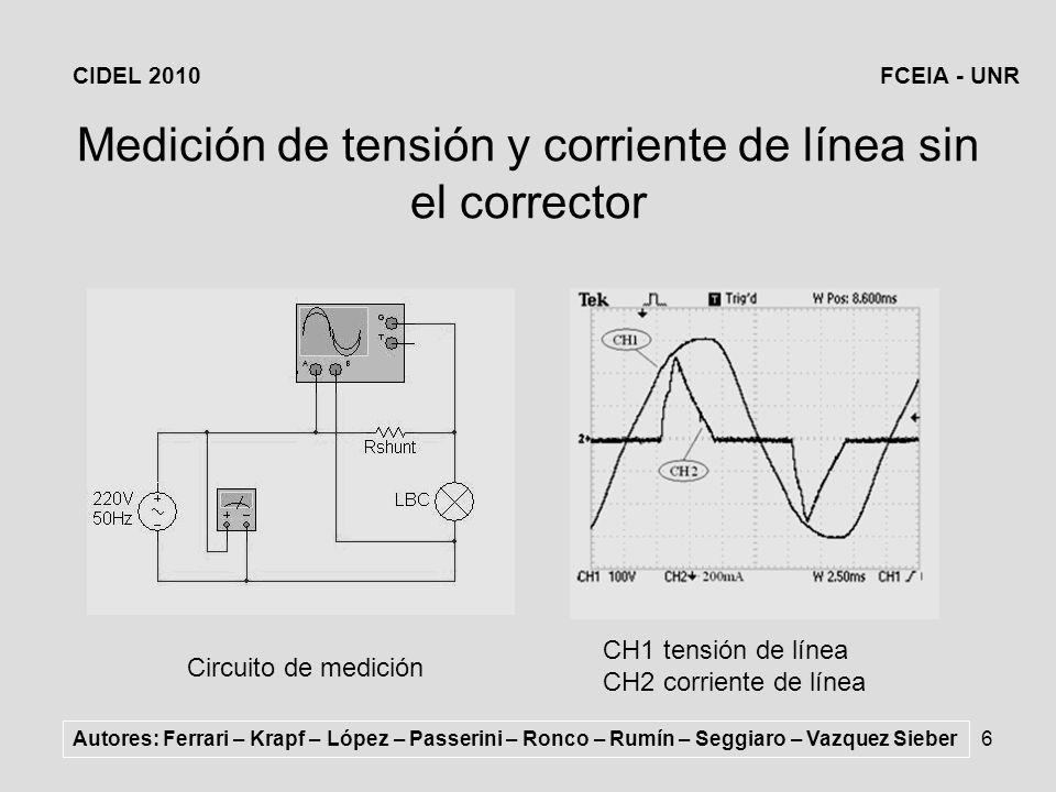 Medición de tensión y corriente de línea sin el corrector