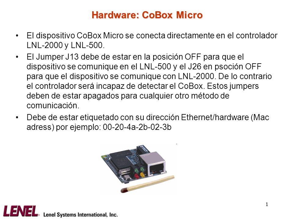 Hardware: CoBox Micro El dispositivo CoBox Micro se conecta directamente en el controlador LNL-2000 y LNL-500.
