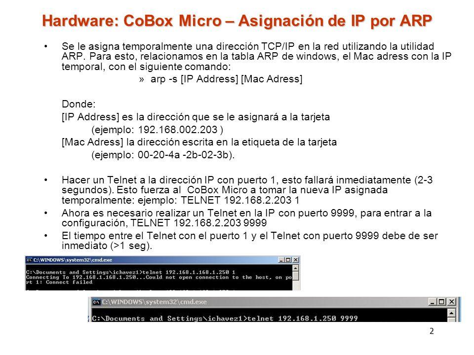 Hardware: CoBox Micro – Asignación de IP por ARP