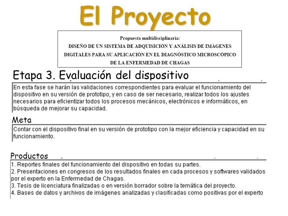 El Proyecto Etapa 3. Evaluación del dispositivo Meta Productos