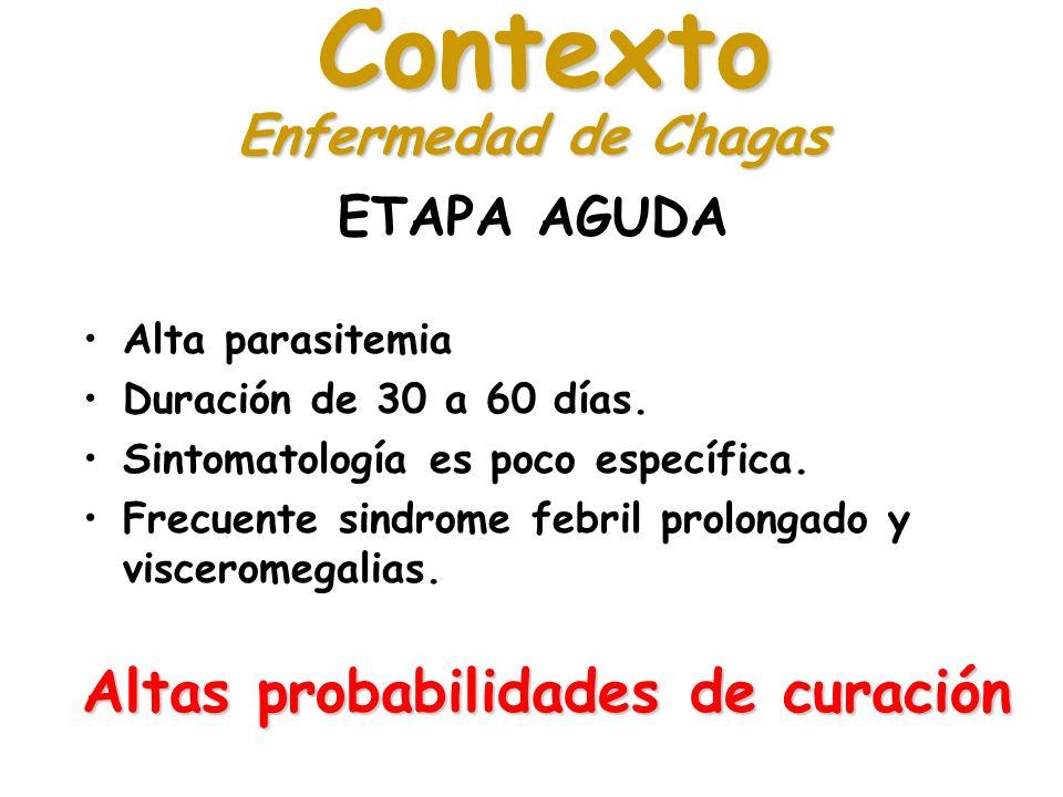Contexto Altas probabilidades de curación Enfermedad de Chagas