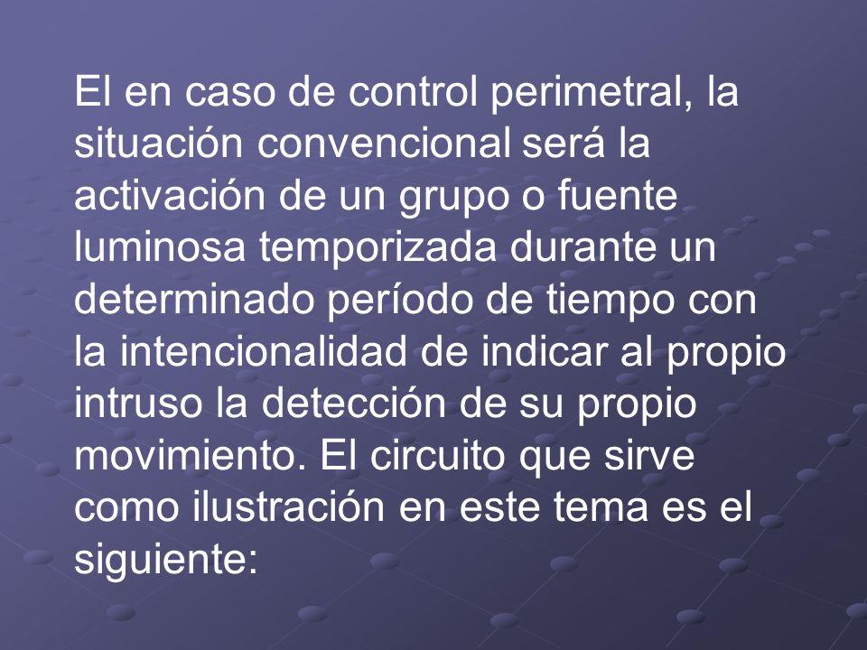 El en caso de control perimetral, la situación convencional será la activación de un grupo o fuente luminosa temporizada durante un determinado período de tiempo con la intencionalidad de indicar al propio intruso la detección de su propio movimiento.