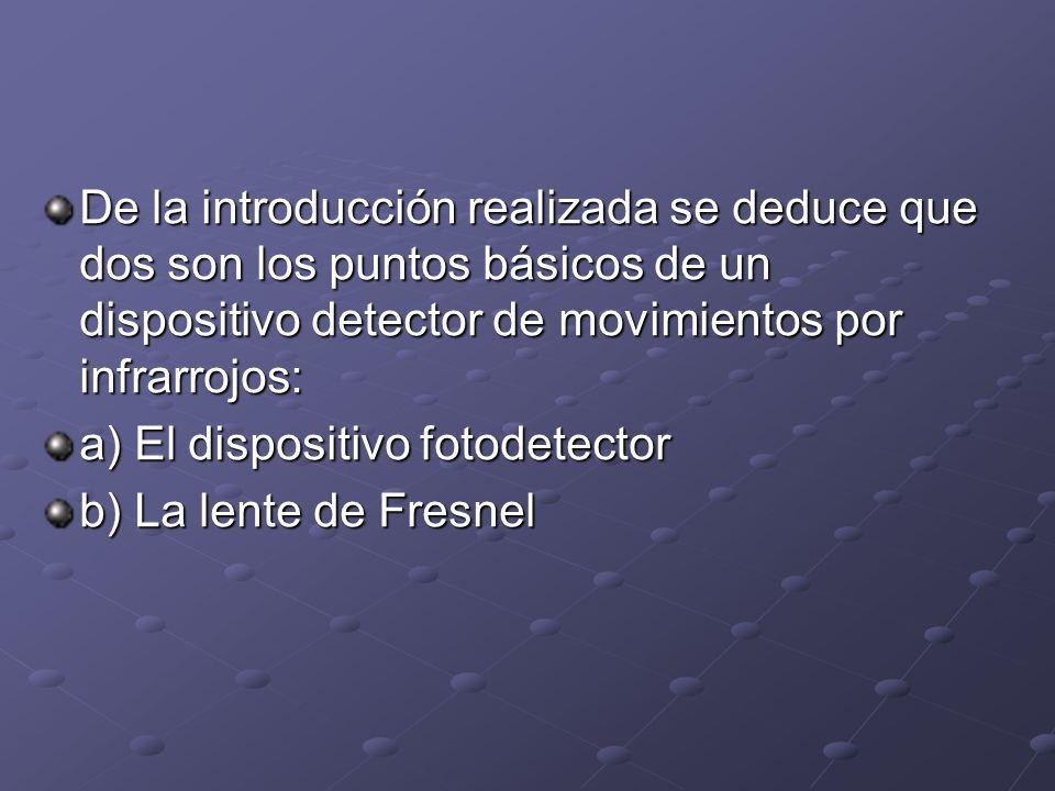De la introducción realizada se deduce que dos son los puntos básicos de un dispositivo detector de movimientos por infrarrojos: