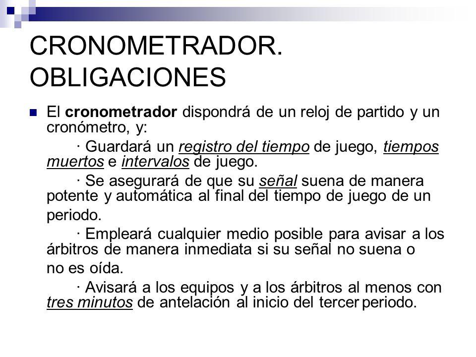 CRONOMETRADOR. OBLIGACIONES