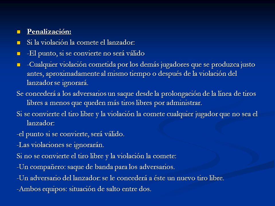Penalización: Si la violación la comete el lanzador: -El punto, si se convierte no será válido.