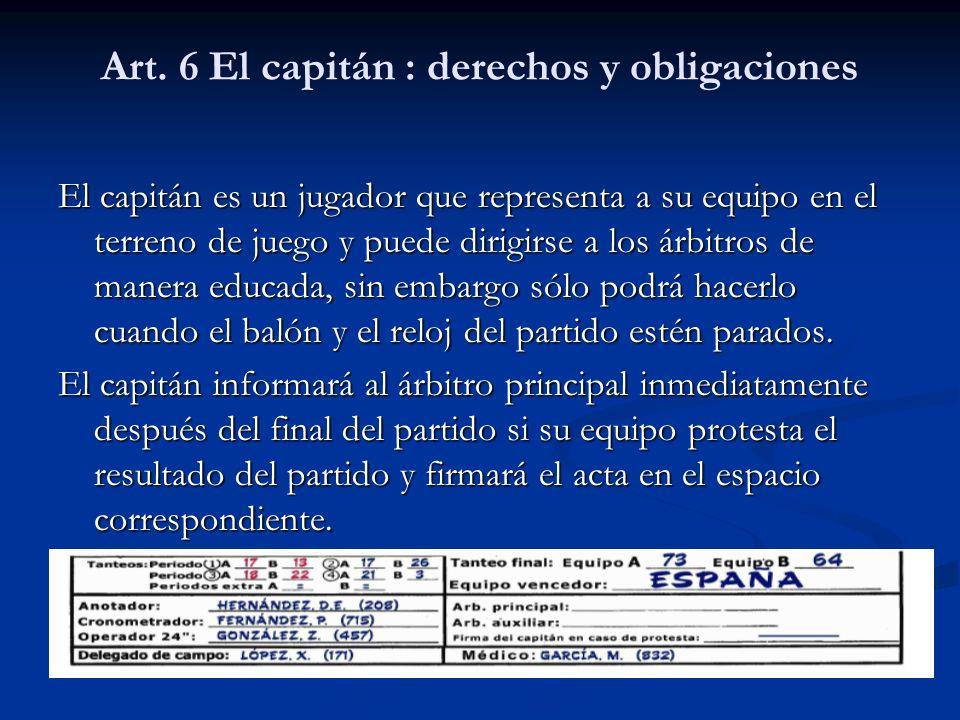 Art. 6 El capitán : derechos y obligaciones