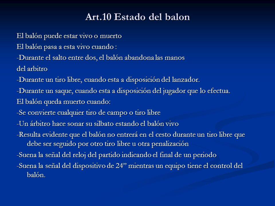 Art.10 Estado del balon El balón puede estar vivo o muerto