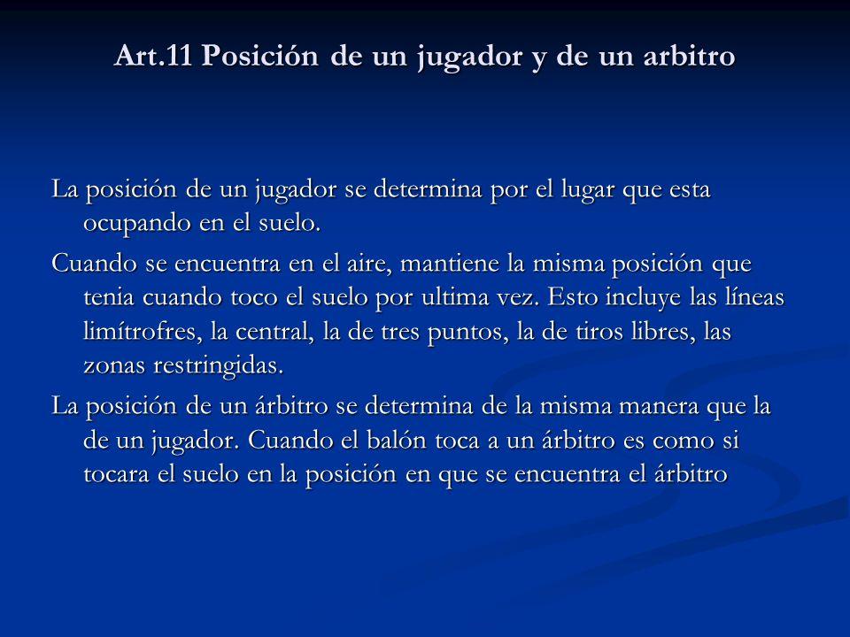 Art.11 Posición de un jugador y de un arbitro
