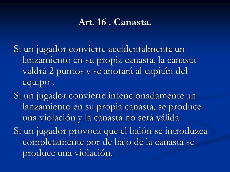 Art. 16 . Canasta.